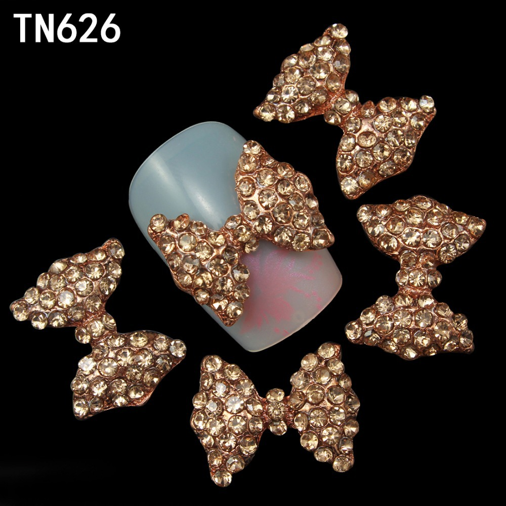 Blueness 10Pcs Golden Nail Bow 3D Metal Alloy Nail Art Decoration Nails Rhinestones 3d Jewelry Supplies TN626