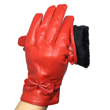 Bow Womens Genuine Leather Gloves RED COLOR Real Sheepskin Finger Red Winter Warm Fashion Mittens gloves G12