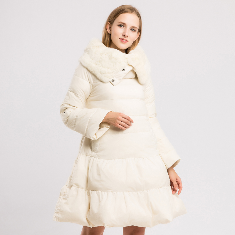 YNZZU New Design 2018 Women's Pullover   Down   Jacket Elegant White Duck   Down     Coats   with Real Rabbit Fur Collar Warm Outwears O615