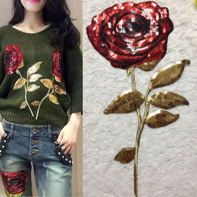 1ac33269f6dd2 3 unids Rose flor lentejuelas bordado parches parche para el vestido de  boda ropa blusa adorno