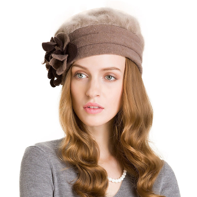 Winter Wool Fashion Khaki Women Flower Warm Caps Casual Beanies 1