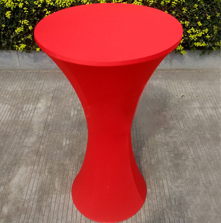 Free Shipping 10pcs Red Round Based Elastic Spandex Cocktail Table Cloths Lycra Stretch Bar