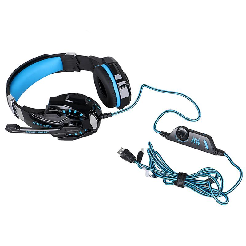 Foxnovo 3.5mm Game Gaming Headphone G9000 Headset with Microphone LED Light for Laptop / Tablet / Mobile Phone (Black+Blue)
