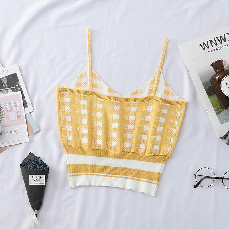 HELIAR 2019 lady Summer Crop top Sexy street Wear V-Neck knitting Underwear Crop top women Cloth Sleeveless Camisole