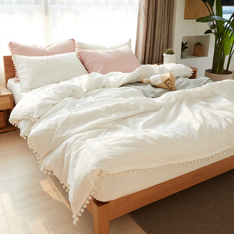 Wihte Pink Bedding Sets With Washed Ball Decorative Microfiber Fabric Queen King Duvet Cover Pillowcase Comfortable