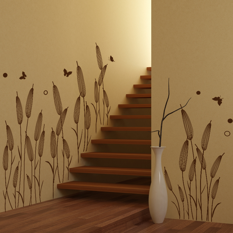 [SHIJUEHEZI] Abstract Reed Grass Wall Sticker Baseboard Decals For Living  Room Stair Plant Wall Art Decoration Muursticker In Wall Stickers From Home  ...