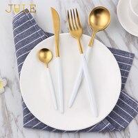 トップグレード黄金カトラリーセット4ピース/ロット18/10鋼ディナーナイフフォークティースプーン西洋食器セットキッチン食器カトラリ