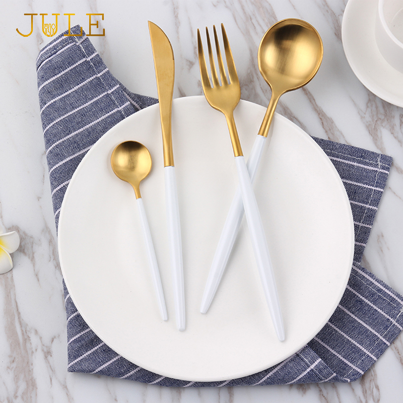 Top Grade Golden Cutlery Set 4pcs/lot 18/10 Steel Dinner Knife Forks Teaspoon Western Dinnerware Sets Kitchen Tableware Cutlery & ?Top Grade Golden Cutlery Set 4pcs/lot 18/10 Steel Dinner Knife ...