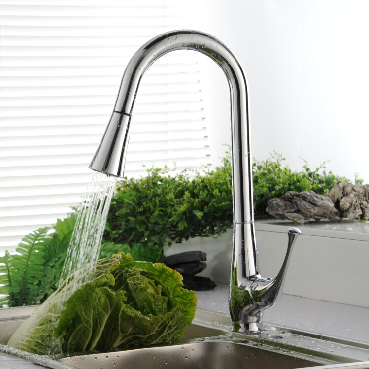 BECOLA Cold hot water kitchen faucet Spring pull type kitchen faucet The vase is a sink
