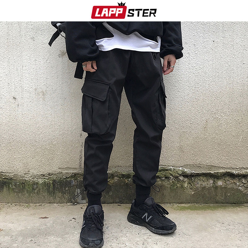 LAPPSTER Men Japan Streetwear Joggers Pants 2019 Overalls Mens Hip Hop Cargo Pants Male Fashions Sweat Pants Black Track Pants