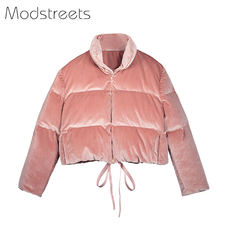 Modstreets 2017 Для женщин зима толстые теплые бархатные Мужские парки Короткое пальто розовый бархат зимнее пальто толстая велюр Куртки короткая...
