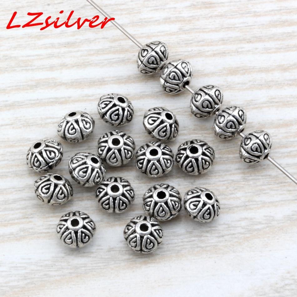 Micro 100 pièces argent vieilli en alliage de zinc lisse ronde entretoise perles 3.5x4mm bijoux à bricoler soi-même D4