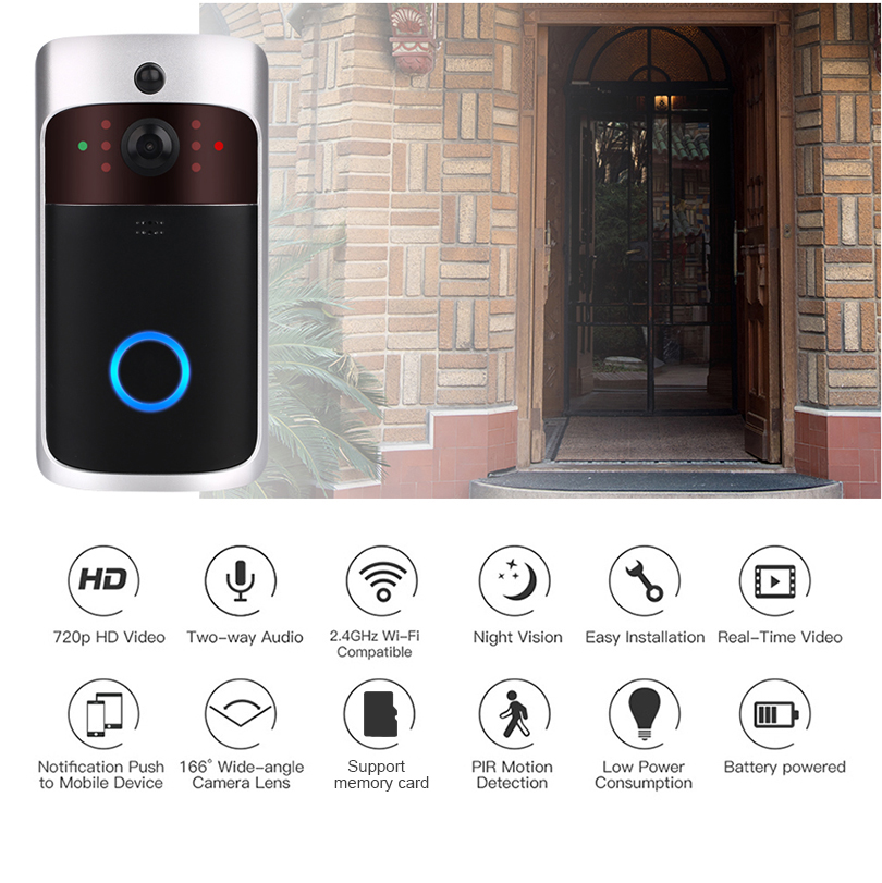 V5 Smart WiFi Video Doorbell Camera IP Door Bell Wireless Home Visual Intercom Chime Night vision  APP Control Security Camera(China)
