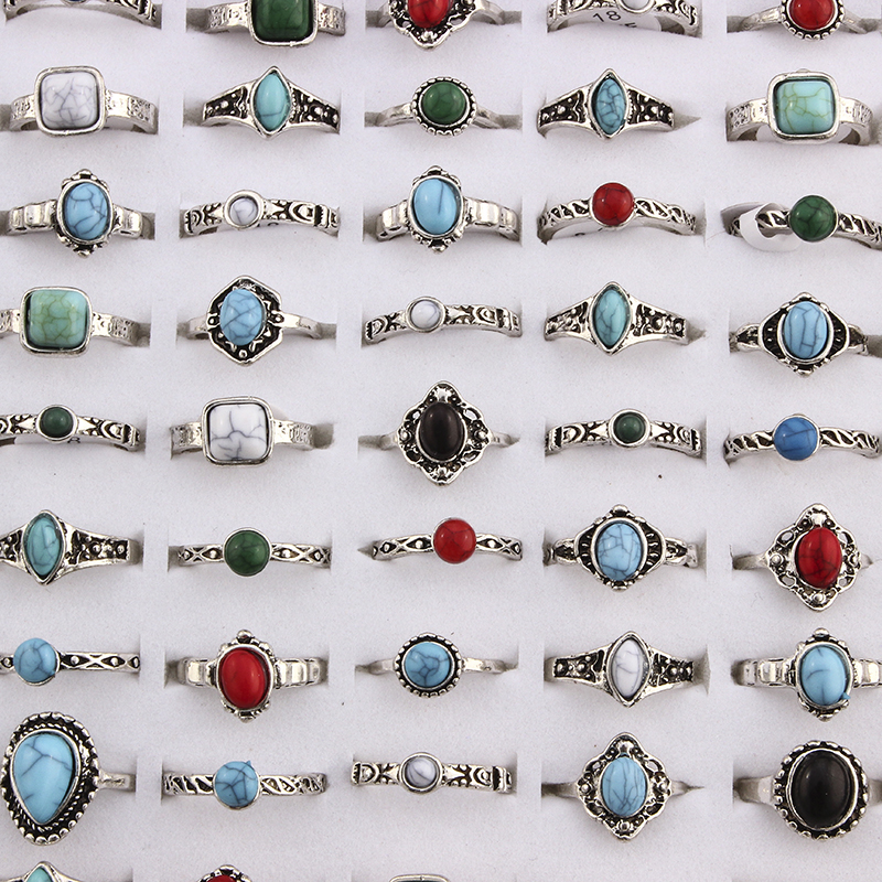 Misturada bohemia estilo natural azul vermelho pedra anéis tibetano prata tom tamanho 16 17 18 anéis de dedo jóias para a mulher 10 pçs