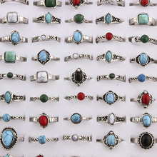 Mixed Bohemia Style Natural Blue Red Stone Rings Tibetan Silver Tone Size 16 17 18 Finger Rings Jewelry For Woman 10pcs