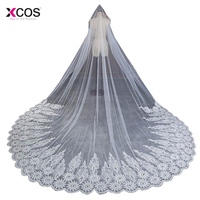 Romatic Ivory 3.5 m Long Bridal Veil Tulle Beaded Lace Edge Cathedral Wedding Veil With Comb Crystal Wedding Accessories