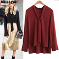 MissLymi M-5XL Plus Size Women Blouse 2016 Autumn Winter Fashion V-neck Long Sleeve Bow Lace shirt blusas chiffon blouse Female