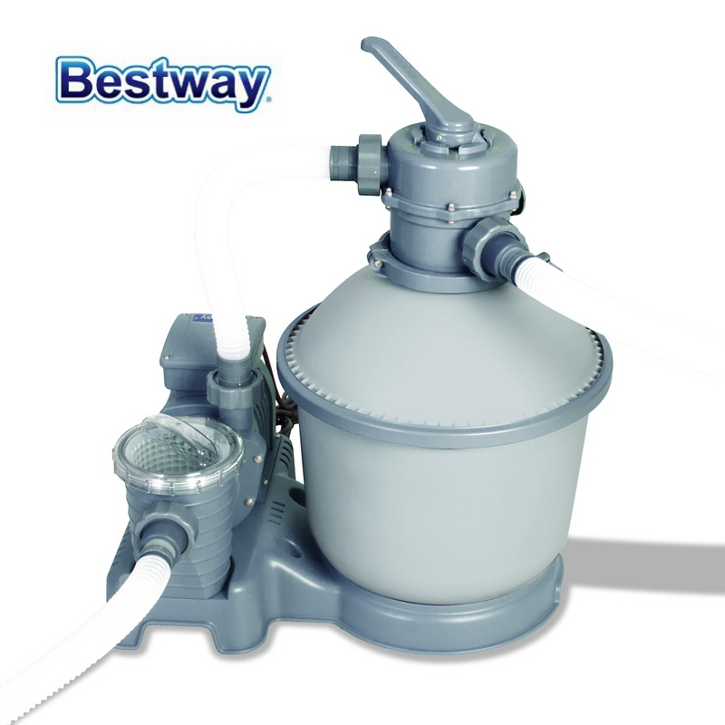 58400 Bestway 1000 Gal Sand Filter For 1100-27200L Pool With Durable Tank 6-Position Valve Top Flange Clamp Anti Leaves & Debris