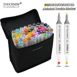 TOUCHNEW 24/30/40/60/80/168 Art Dual Headed Marker Set Animation Manga Design School Drawing Sketch Marker Pen Art Supplies