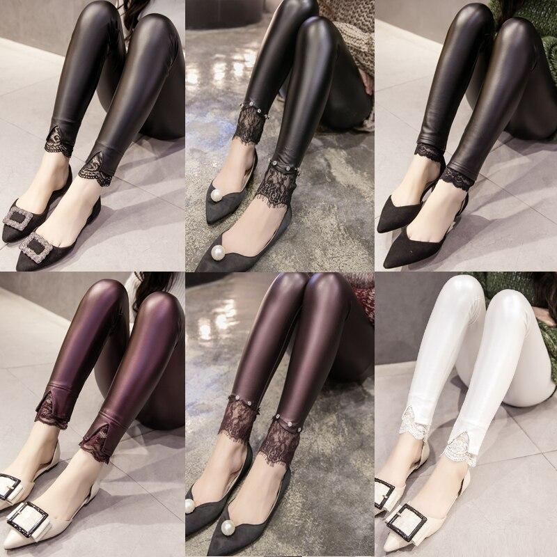 Fashion Women's Leggings Culottes Sexy Casual Lace Pu Leg Warmer Fit Moost Sizes Leggins Pants Trousers Woman's Leggings