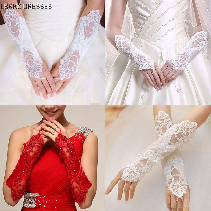 Women Bridal Long Gloves Fingerless Embroidery Lace Glitter Sequins Elbow Length Mittens Hook Finger Wedding Luvas De Casamento