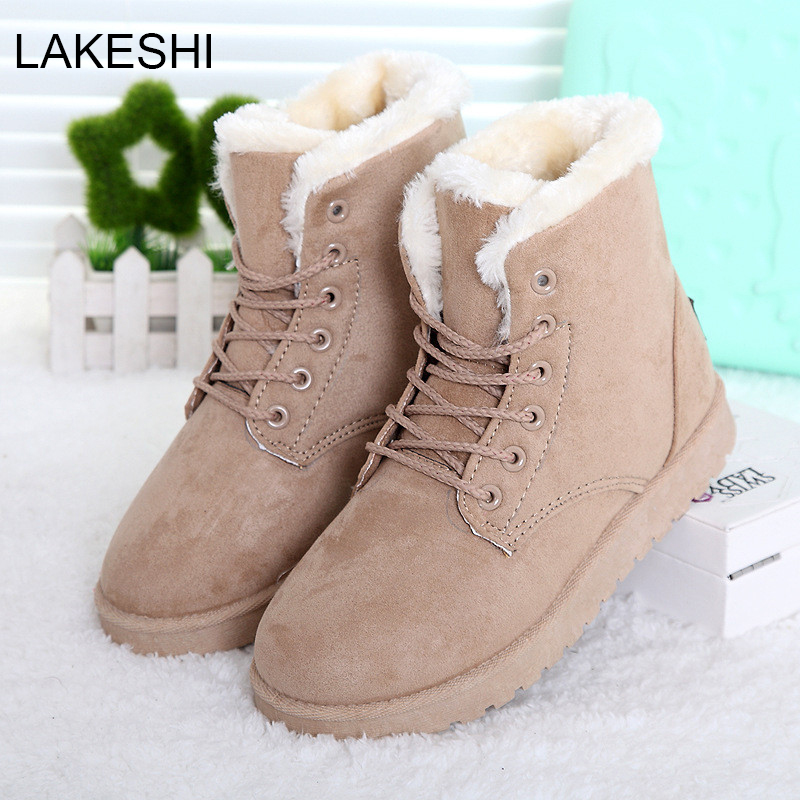 LAKESHI Hot Women Boots Snow Warm Winter Boots Botas Mujer Lace Up Fur Ankle Boots Ladies Winter Shoes Black NM01 2016 rhinestone sheepskin women snow boots with fur flat platform ankle winter boots ladies australia boots bottine femme botas