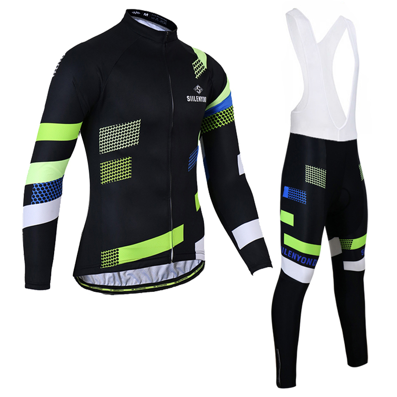 Siilenyond Long Sleeve Winter Thermal Fleece Cycling Jersey Sets MTB Bike Clothes Maillot Ropa Ciclismo Bicycle Clothing 2017 black thermal fleece cycling clothing winter fleece long adequate quality cycling jersey bicycle clothing cc5081