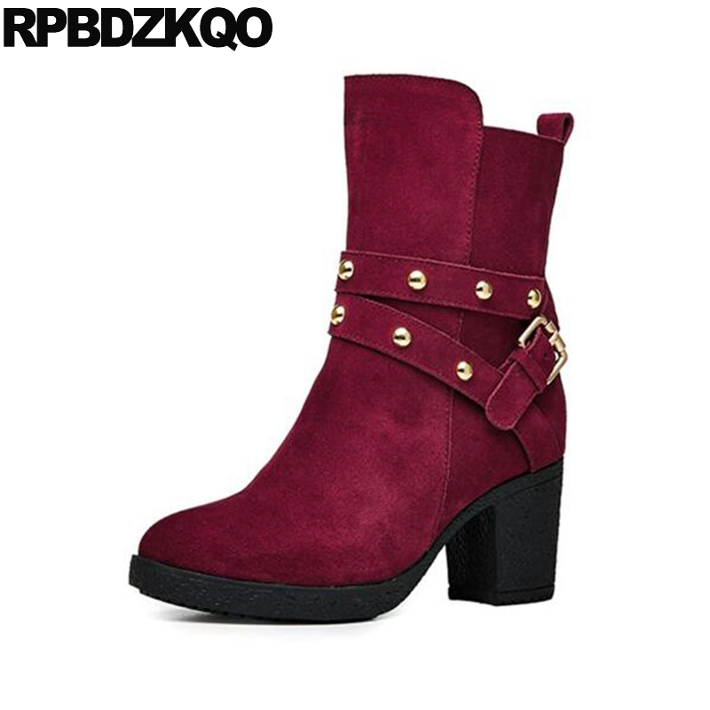 Rivet Shoes High Heel Designer Metal Fur Brand Women Winter Boots Genuine Leather Stud Ankle Platform Round Toe Red Chunky все цены