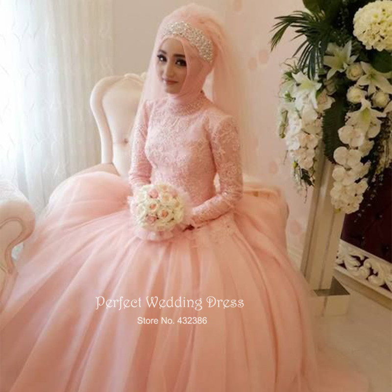 2017 new muslim wedding dress pink high neck long sleeve lace organza ball gown hijab bridal