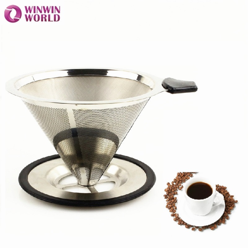 2 pcs <font><b>4</b></font> <font><b>Cups</b></font> Best Seller Novelty New Style Paperless Reusable Washable <font><b>Permanent</b></font> Stainless Steel Pour over Micro-<font><b>Filter</b></font> WW-FE073