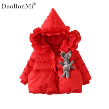 Winter Girls Coats Cartoon Rabbit Baby Girl Warm Cotton Coat Kids Princess Jackets Hooded Parkas For Girls Children's Outerwear