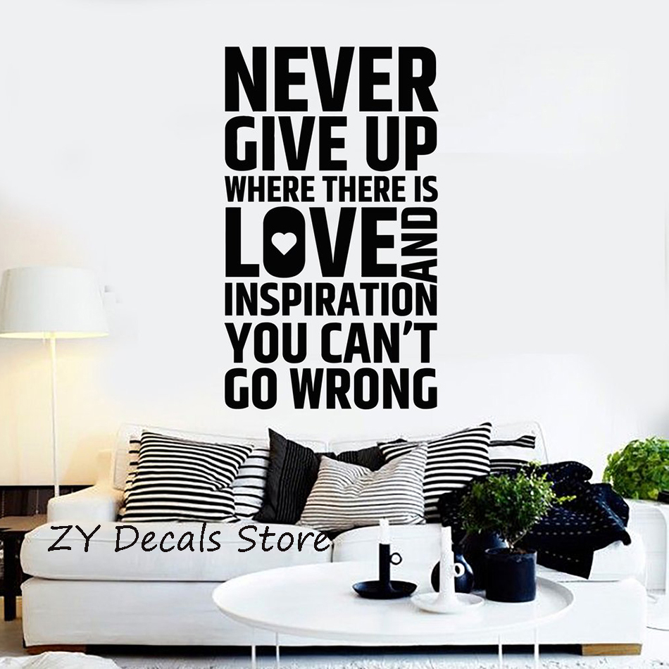 Inspirational Quote Wall Sticker Never Give Up House Interior Room Decor Stickers Removable Office Decoration Wall Decal S655