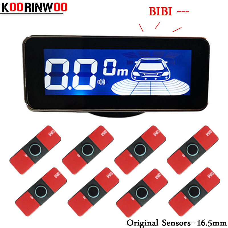 Koorinwoo Original 16.5mm Probes LCD Screen Car parking sensors 8 Radars front Parktronic Alarm Parking Assistance Black White koorinwoo car parking sensors 8 redars video system auto parking system bibi alarm sound alarm parking assistance parktronic