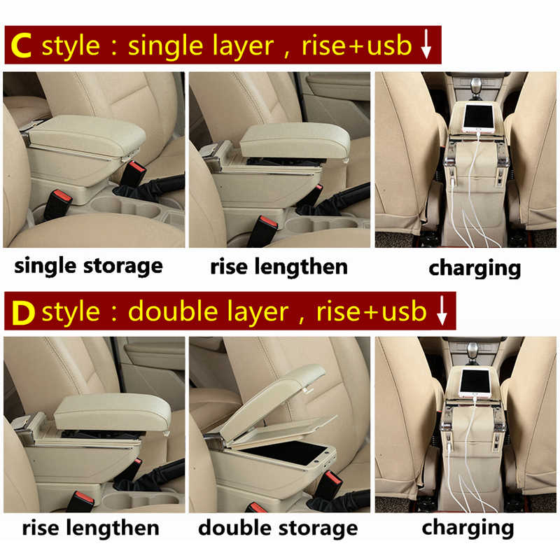 Rotatable Car Armrest For Proton saga Dual layer Large space Central Store content box with cup holder ashtray USB interface mod