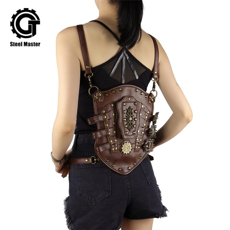 Steampunk Vintage Small Backpack Rivet Detachable Men Women Detachable Leather Arm Bag Backpacks Brown PU Key Card Bags