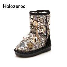 Halozeroo botas infantis para neve, botas com lantejoulas pretas, macias, prateadas, para meninos e meninas, inverno 2018 sapatos com calçados