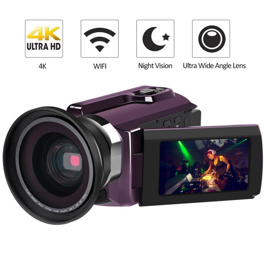 4K WiFi DV Camcorder Video Camera Ultra HD Digital Cameras Night Version Video Recorder 3'' LCD Touchscreen External Wide Angle portable infrared video camera 1080p hd 16x zoom 3 0 tft lcd digital video camcorder camera dv dvr support for night shooting