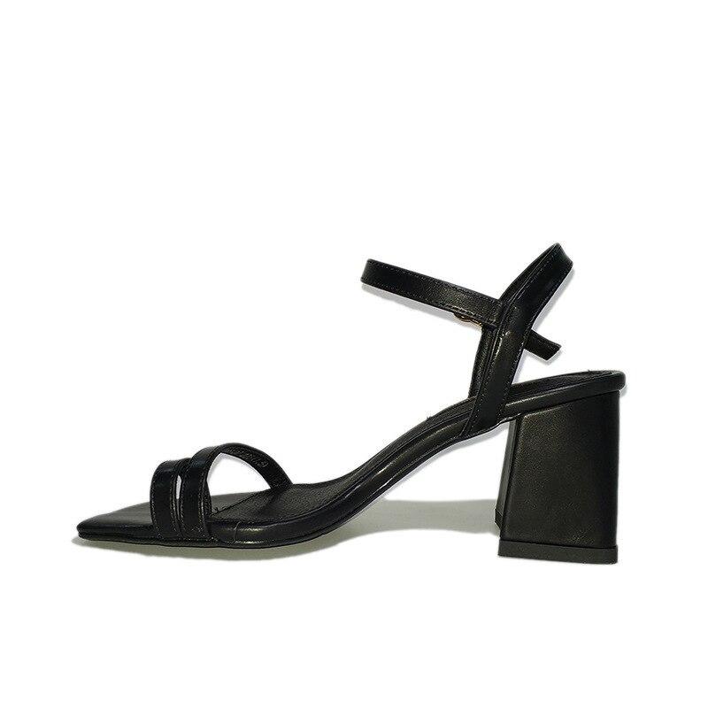 Hauts rouge Grossier Talon 018 Solide Été Chaussures Femmes Simple noir Nouveaux Couleur Boucle Chaussures Beige Talons Orteil Mode Mot UnRIUtBqx