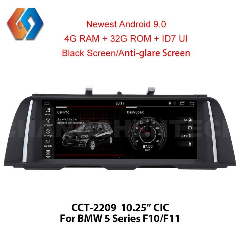 10.25 Android 9.0 pour BMW série 5 F10 F11 CIC écran noir voiture GPS Navigation multimédia stéréo intégré BT WiFi téléphone miroir 9