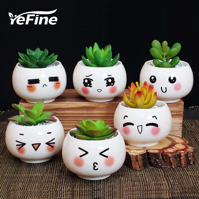 YeFine Cute Expression Ceramic Small Flower Pots DIY Planter Succulent Plants Bonsai Pots Desktop Ornaments Office Decoration