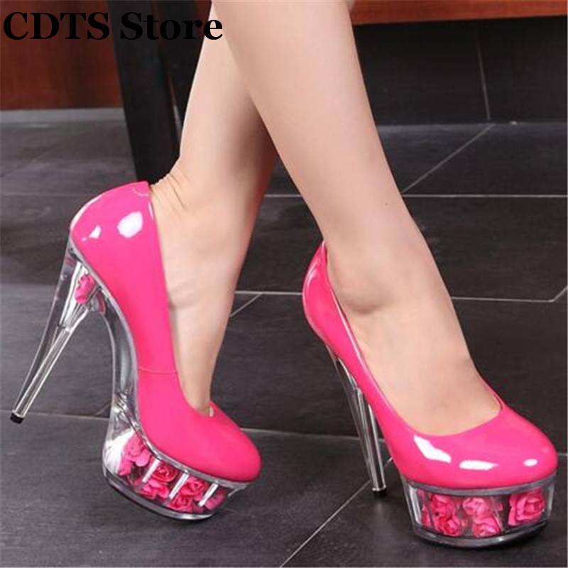 ФОТО CDTS Plus:35-44 zapatos 15cm thin heels Patent leather Flowers transparent platform wedding shoes woman sexy Crossdresser pumps