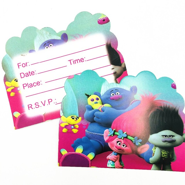 10pcs Trolls Baby Shower First Birthday Party Invitations Ideas Partyware Decoration Girls Invitation Card