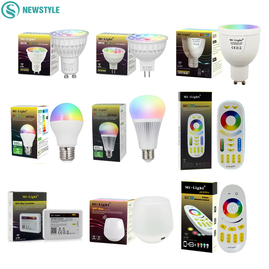 Mi Light Dimmable Led Bulb 4W 5W 6W 9W E27 MR16 GU10 RGBW RGBWW led Lamps Wireless Wifi Controller Box 2.4G RF Remote Controller 8w smart led bulb bluetooth 4 0 e27 dimmable rgbww mi light led lamp color change music ball led light for android ios 110v 220v