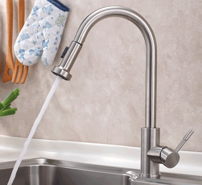 SUS 304 Stainless Steel Pull Out Spring brushed Kitchen Faucet,Deck Mounted Spray Kitchen Mixer Tap,torneira de cozinha 3420 xoxo kitchen faucet brass brushed nickel high arch kitchen sink faucet pull out rotation spray mixer tap torneira cozinha 83014