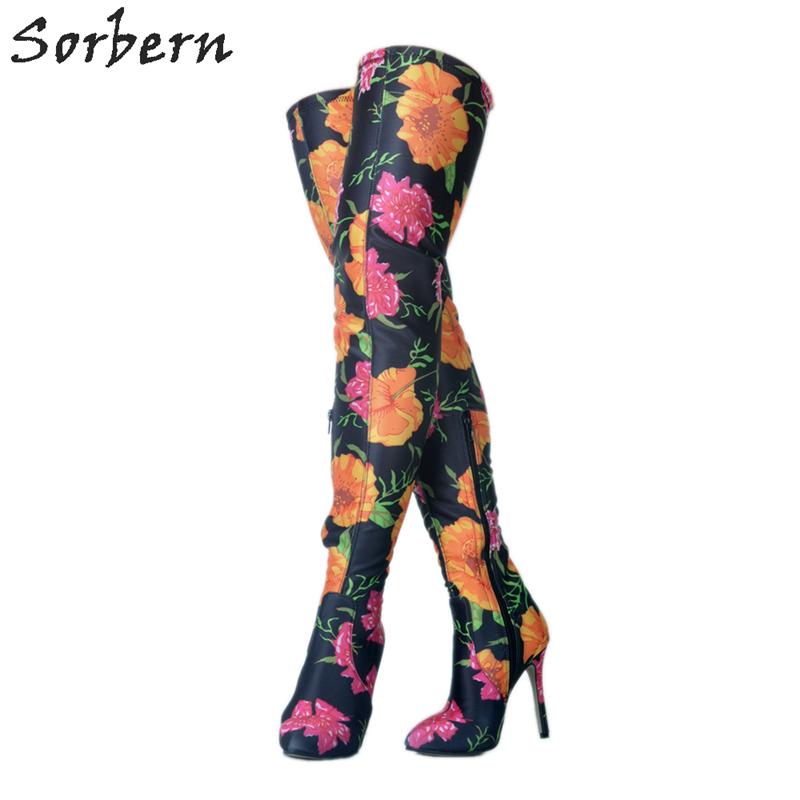 Chaussures Printemps Bottes 2018 Talons Multi Longue Filles De Luxe Cuisse Femmes Sexy Femme Haute Floral Dames 8qTx4wv4