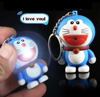Doraemon LED Keychais Hot Movie Keychais Sound Keychains Christmas Gift Sound Keychains Say I Love You