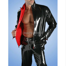 Sex lingerie Male Catsuit black Latex double side fetish Men Polo Shirt Uniform Blouse Maid Costume Long Sleeves costumes Tops
