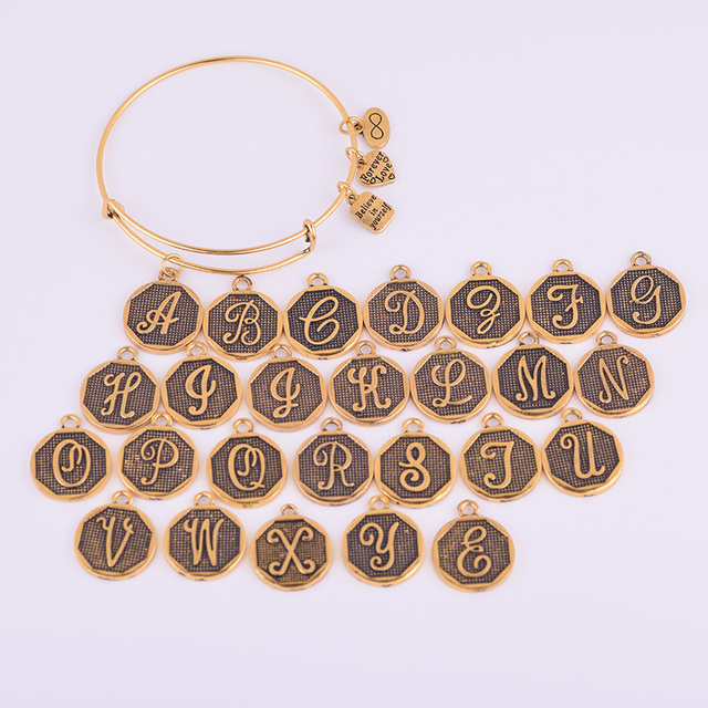 Expandable Bracelet ANCIENT GOLD A-Z Initial Letter American Fashion Charm Alphabet Bracelet Adjustable Wire Wrap Cuff Bangle