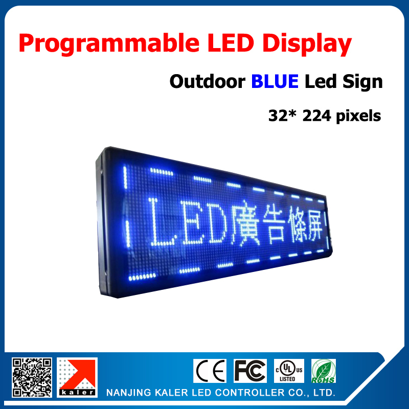 2015 Factory New Product 32*224 Pixels P10 Hotselling Outdoor Blue Color LED Sign Waterproof LED Display