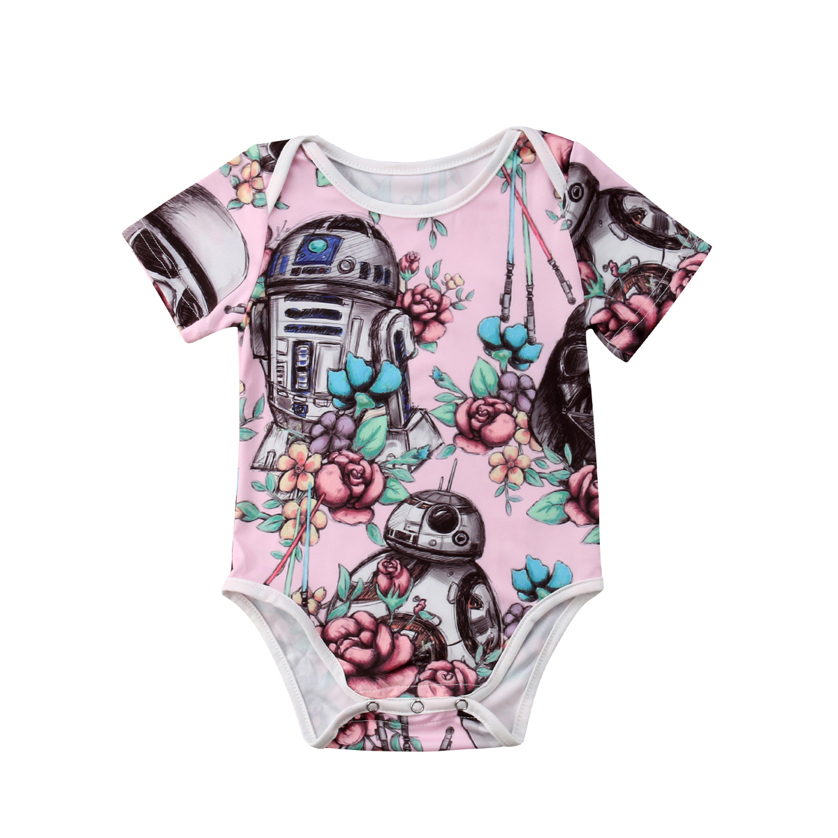 Brand New Cute Cartoon ROBOT Newborn Baby Girls Flower Star Wars Bodysuits Jumpsuit Outfit Clothes